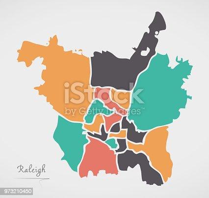 istock Mapa de la ciudad moderna - ciudad de Raleigh Carolina del ...