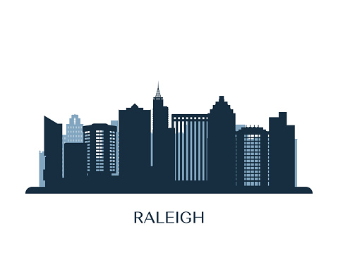 Raleigh skyline, monochrome silhouette. Vector illustration.