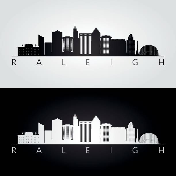 Royalty free raleigh clip art vector images illustrations istock raleigh usa skyline and landmarks silhouette black and white design vector illustration vector malvernweather Gallery