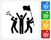 Rally Celebration Icon. This 100% royalty free vector illustration features the main icon pictured in black inside a white square. The alternative color options in blue, green, yellow and red are on the right of the icon and are arranged in a vertical column.