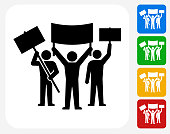Rally Group Icon. This 100% royalty free vector illustration features the main icon pictured in black inside a white square. The alternative color options in blue, green, yellow and red are on the right of the icon and are arranged in a vertical column.
