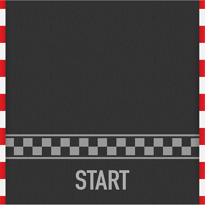 Rally races line track or road marking. Car or karting road racing vector background. Vector illustration.