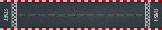 rally races track with road marking. car or karting sport racing road vector background with start and finish line checkered borders - start stock illustrations