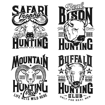 Ram, buffalo and bison bull hunting apparel print