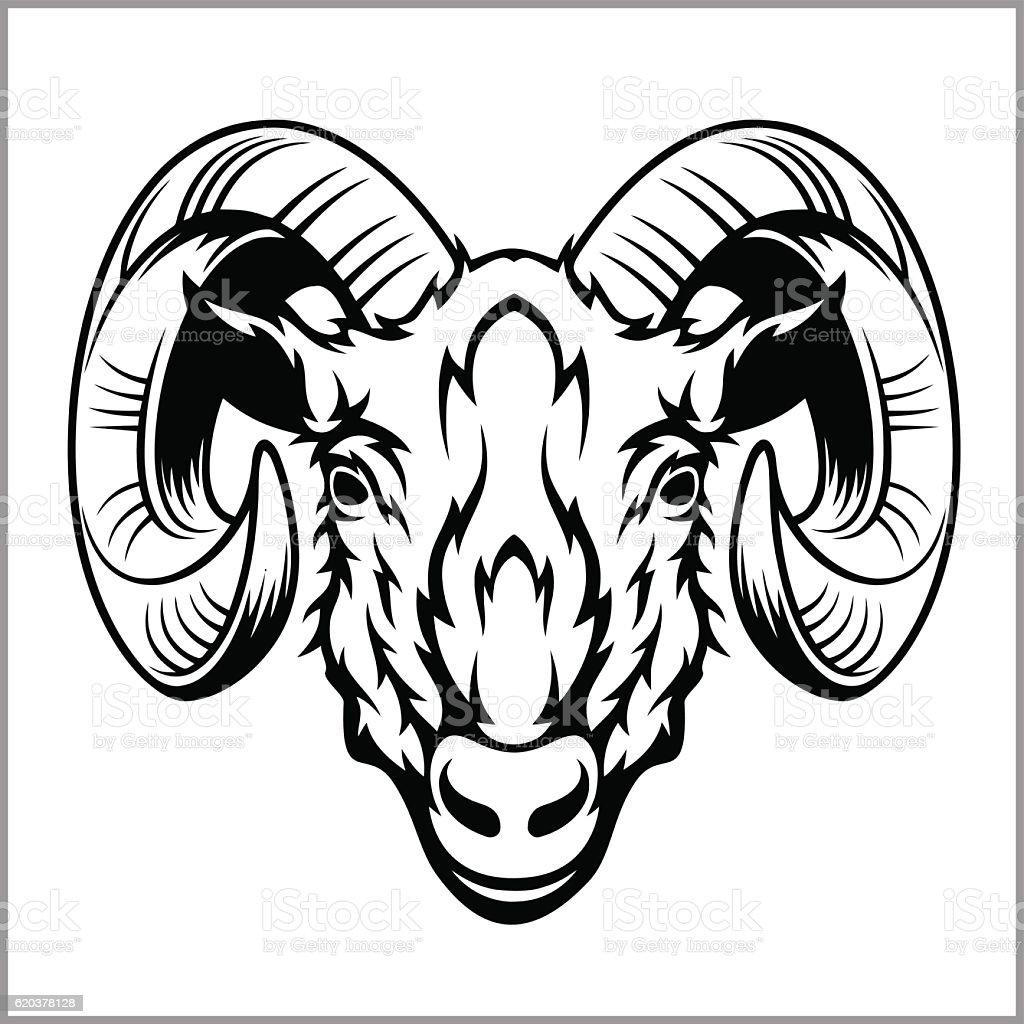 Ram head logo or icon in black and white. ram head logo or icon in black and white - stockowe grafiki wektorowe i więcej obrazów agresja royalty-free