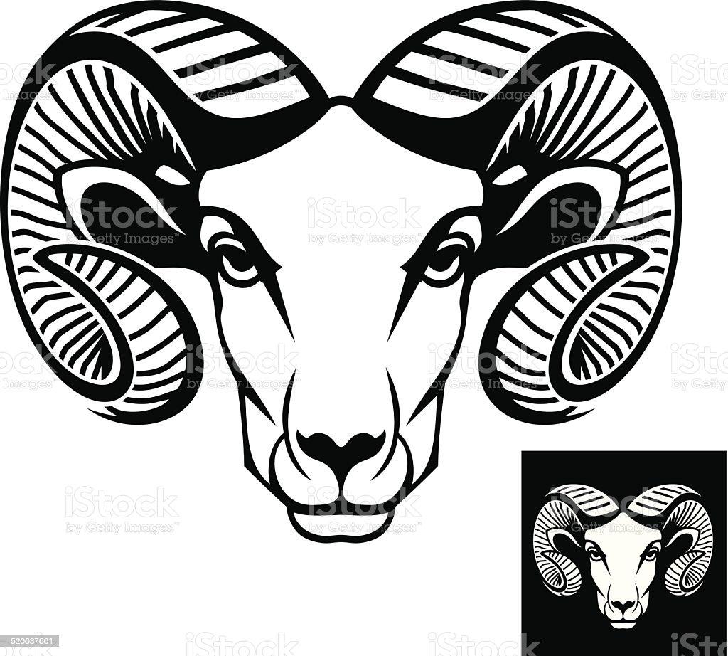Ram head logo or icon vector art illustration