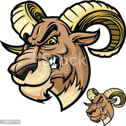 Ram Head Vicious Stock Vector Art & More Images of ...