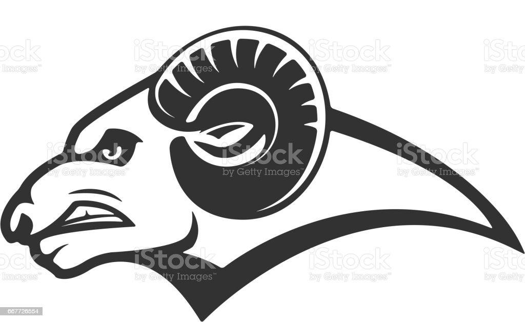 Ram icon isolated on white background. Mutton head. Design elements for logo, label, emblem, sign, brand mark. – artystyczna grafika wektorowa