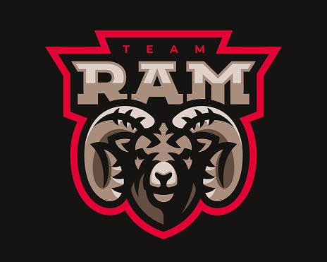 Ram modern mascot logo. Aries design emblem template for a sport and eSport team.