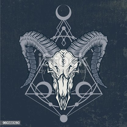Ram skull in engraving graphic technique.
