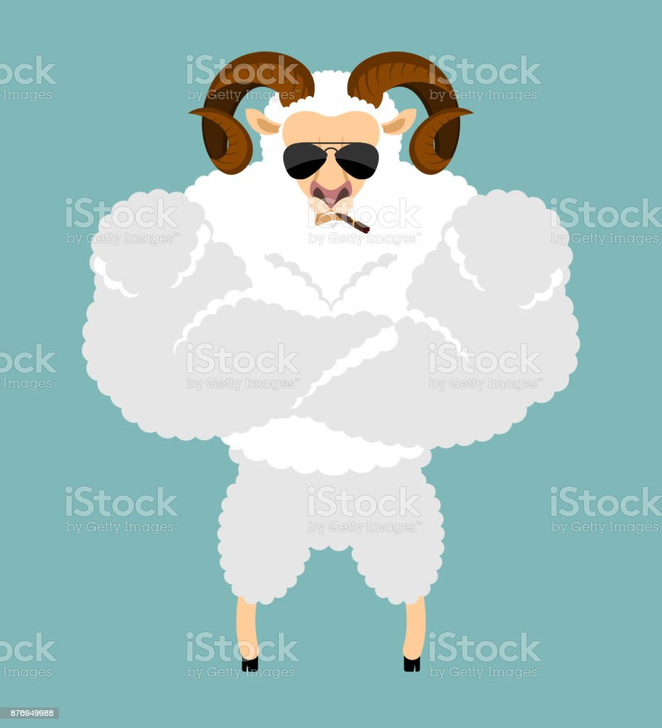 Ram Strong Cool serious. Sheep smoking cigar emoji. Farm animal strict. Vector illustration vector art illustration