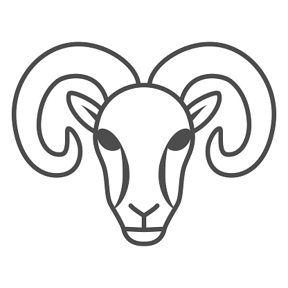 Ram thin line icon, Farm animals concept, sheep sign on white background, silhouette of ram icon in outline style for mobile concept and web design. Vector graphics.
