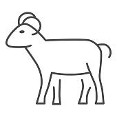 Ram thin line icon, livestock concept, sheep sign on white background, silhouette of ram icon in outline style for mobile concept and web design. Vector graphics
