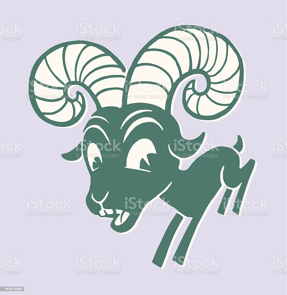 Ram with Large Horns vector art illustration