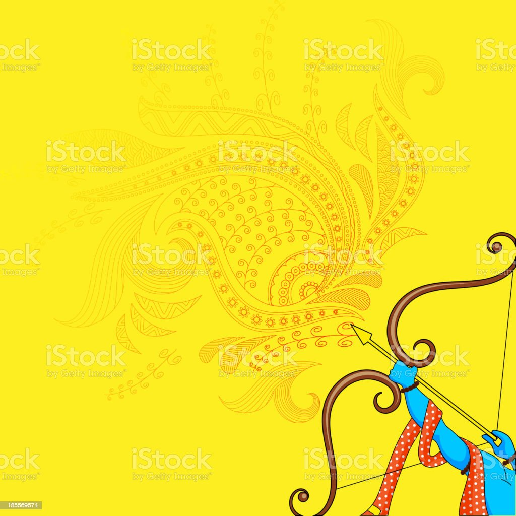 Rama killing Ravana in Dussehra royalty-free stock vector art