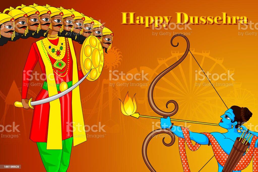 Rama killing Ravana in Dussehra royalty-free stock vector art