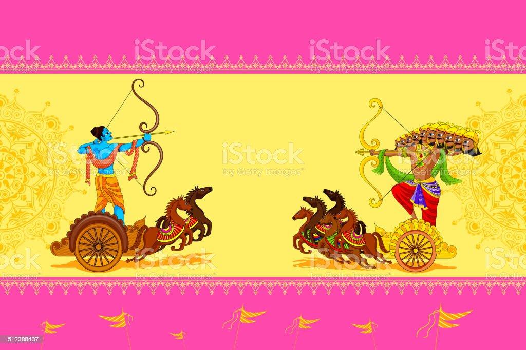 Rama killing Ravana in Happy Dussehra vector art illustration