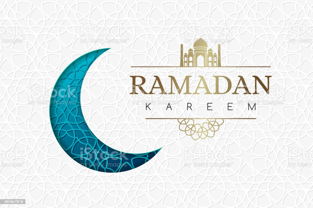 Ramadan background with blue moon and geometric white texture. vector art illustration
