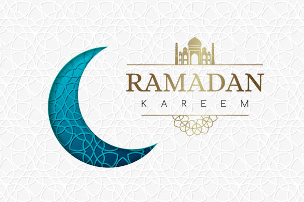 Ramadan background with blue moon and geometric white texture. Ramadan background with blue moon and geometric white texture. ramadan stock illustrations