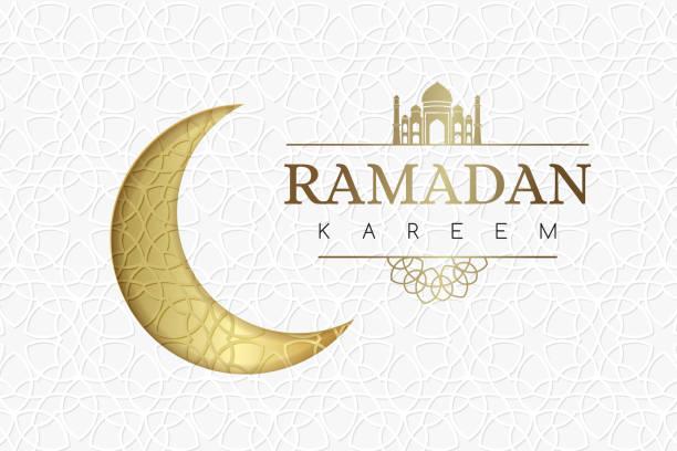 ramadan-hintergrund mit goldenen mond und geometrische weiße textur. - ramadan kareem stock-grafiken, -clipart, -cartoons und -symbole