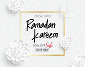 ramadan backgrounds vector  sale promotion banner on Arabic pattern white background