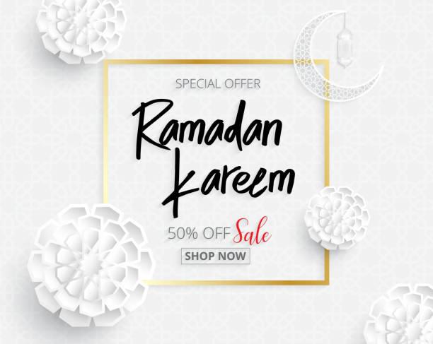 ramadan-hintergründe vektor verkauf promotion banner auf arabische muster - ramadan kareem stock-grafiken, -clipart, -cartoons und -symbole