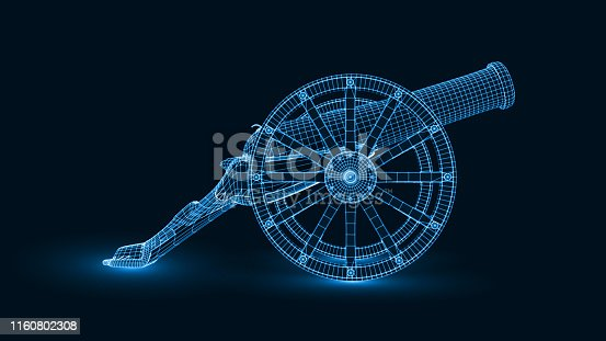 ramadan cannon with glowing wireframe design. suitable for ramadan, islam and technology themes. 3d style vector illustration