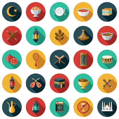 A set of flat design styled Ramadan icons with a long side shadow. Color swatches are global so it's easy to edit and change the colors. File is built in the CMYK color space for optimal printing.