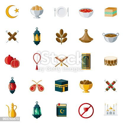 A set of 25 Ramadan flat design icons on a transparent background. File is built in the CMYK color space for optimal printing. Color swatches are Global for quick and easy color changes.
