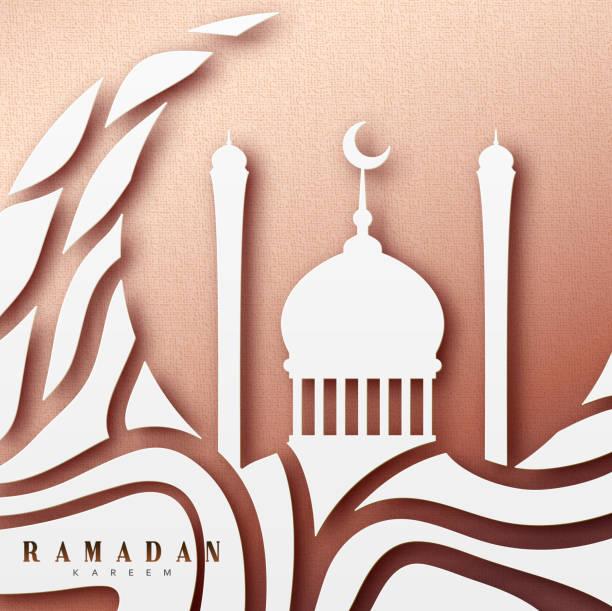ramadan-grußkarte mit arabischer kalligrafie ramadan kareem. islamischer hintergrund mit moscheen - ramadan kareem stock-grafiken, -clipart, -cartoons und -symbole