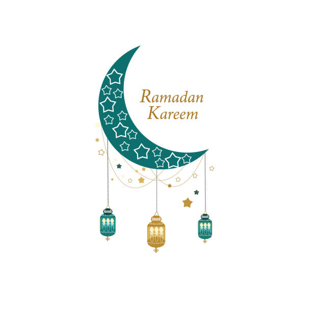 Ramadan Greeting card with gold and green colored moon, crescent and stars. Traditional lantern Ramadan Greeting card with gold and green colored moon, crescent and stars. Traditional lantern ramadan stock illustrations