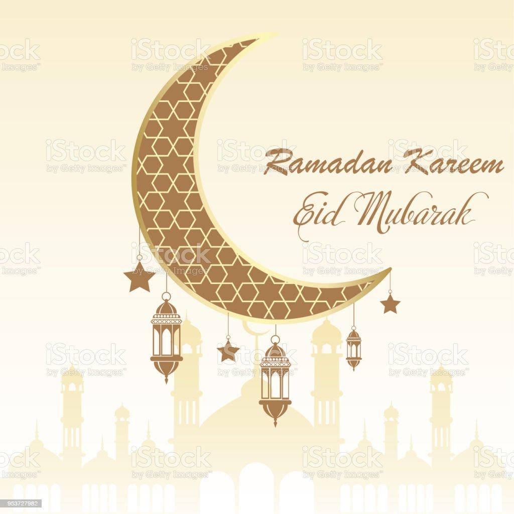 Ramadan greeting card with moon and arabic lamps. Vector vector art illustration