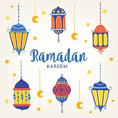 Ramadan greeting card with six lanterns, stars and moon on light background. Perfect for Islamic holidays. Vector illustration