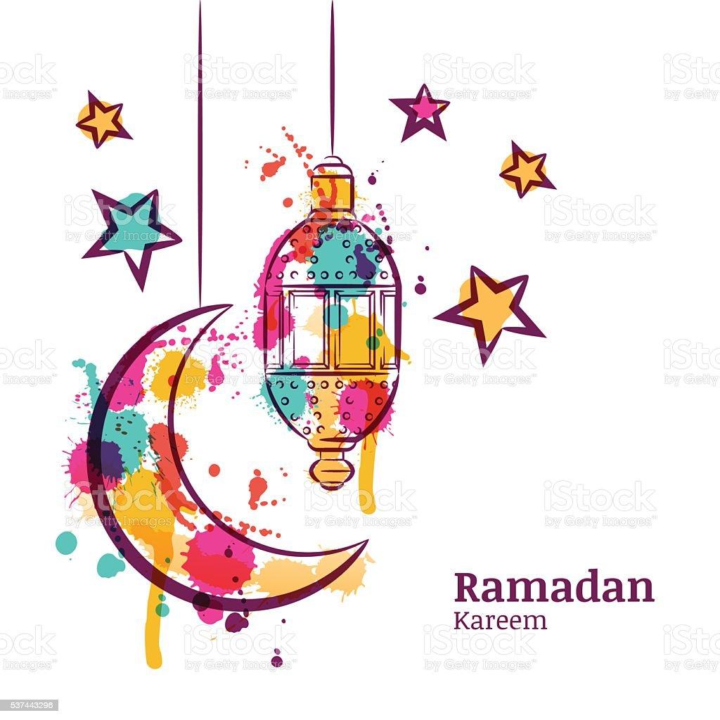 Ramadan greeting card with traditional watercolor lantern moon and ramadan greeting card with traditional watercolor lantern moon and stars royalty free ramadan m4hsunfo Image collections