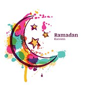Ramadan Greeting Card With Watercolor Decorative Moon And Stars