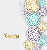 Ramadan greeting cards with Islamic patterns on a gray background, creative concepts of Ramadan greeting cards or eid al fitr adha, hajj, hijri, mawlid, muharram. copy space text, vector illustration.
