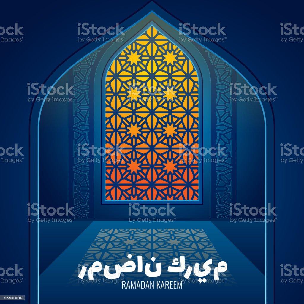 Ramadan greeting vector card with glass arabic window of islamic mosque vector art illustration