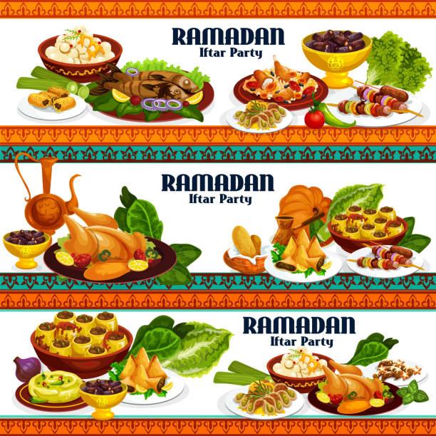 ラマダンイフタール料理、ドリンク、デザート - カレー点のイラスト素材/クリップアート素材/マンガ素材/アイコン素材
