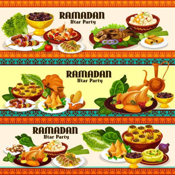 ラマダンイフタール肉と魚料理のデザート - インド料理点のイラスト素材/クリップアート素材/マンガ素材/アイコン素材
