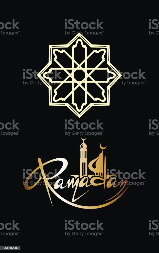 Ramadan invitation card in gold on black background vector art illustration