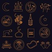 ramadan islam holiday color outline icons set eps10