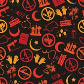ramadan islam holiday icons seamless color pattern eps10