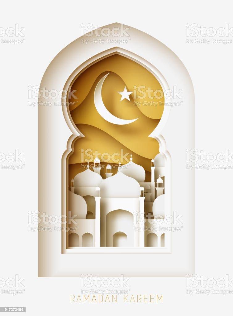 Ramadan Kareem 3d Scherenschnitt abstrakte Abbildung. Fenster mit islamischen Moschee. Mond und Gold Himmel. – Vektorgrafik