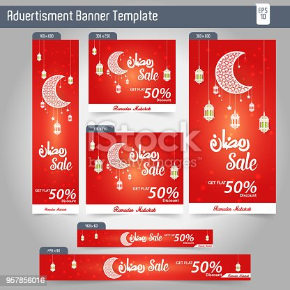 Ramadan Kareem Advertising 6 different Sale Banner template design