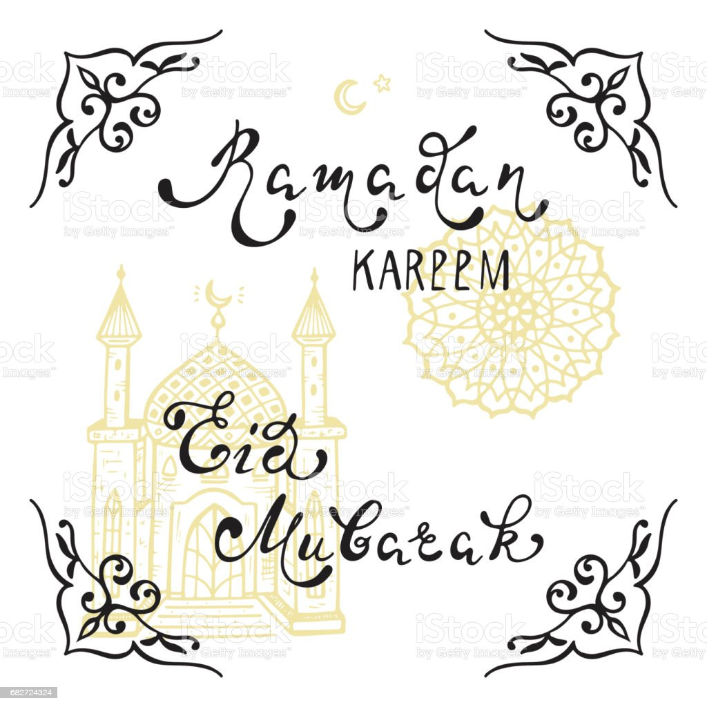 Ramadan Kareem and Eid Mubarak Hand Drawn Calligraphy Lettering Phrases and doodle Arabic Patterns and Mosque for design greeting cards for holy Muslim Holidays vector art illustration