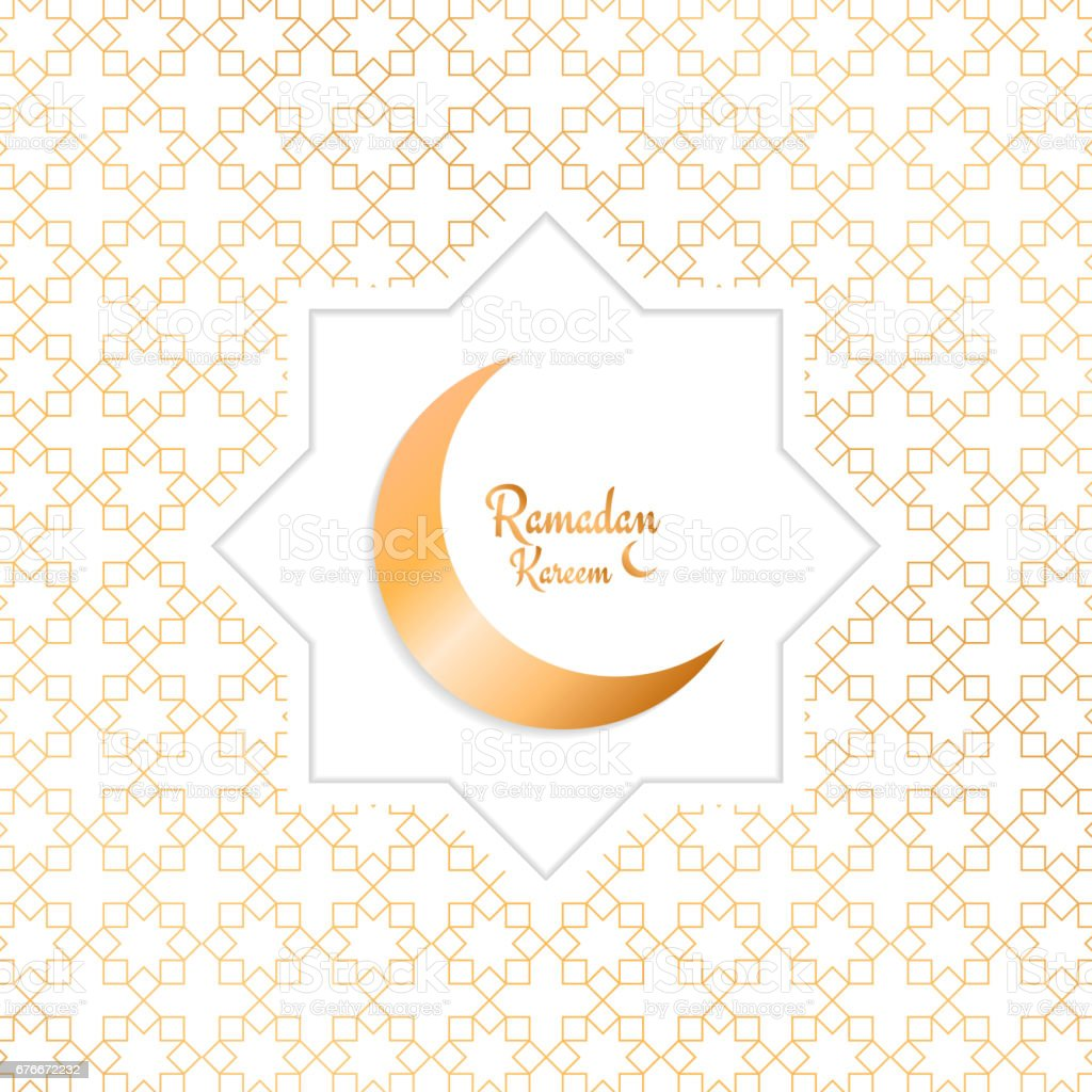 Ramadan Kareem. Arabian background with moon, gold pattern and typography vector art illustration