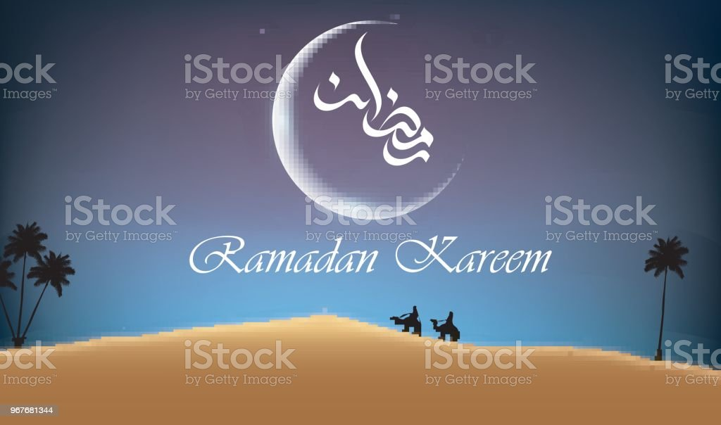 Ramadan kareem arabian night background with group of people riding camel in desert vector art illustration