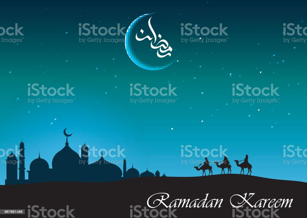 Ramadan kareem arabian night background with group of people riding camel and mosque silhouette vector art illustration