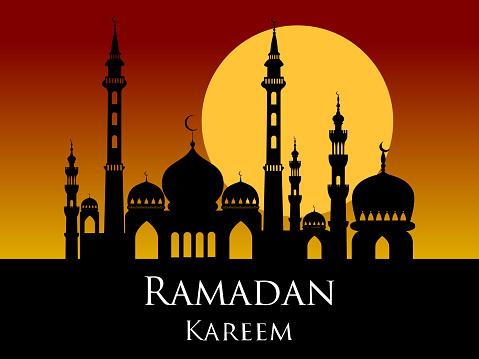 Ramadan kareem arabic mosque silhouette sunset sunrise background