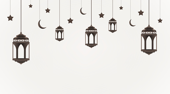 Ramadan Kareem background. Hanging lanterns, crescents and stars. Muslim feast of the holy month. Eid Mubarak greeting card template for Ramadan and Muslim Holidays
